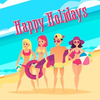 Boas festas. grupo jovens, praia