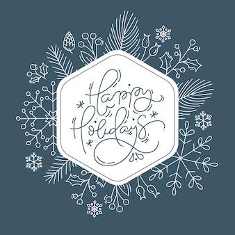 Boas festas letras caligráficas mão escrito texto cartão de natal