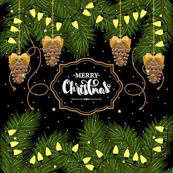 Boas festas mão desenhada letras. ilustração de natal.
