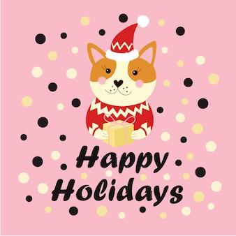 Boas festas texto inverno férias cartão com cachorro
