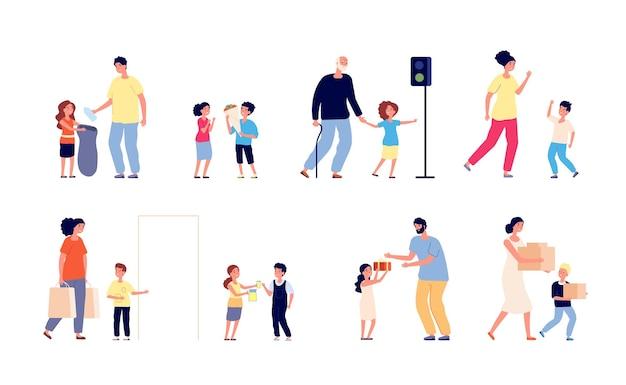 Boas maneiras. crianças ajudam pessoas