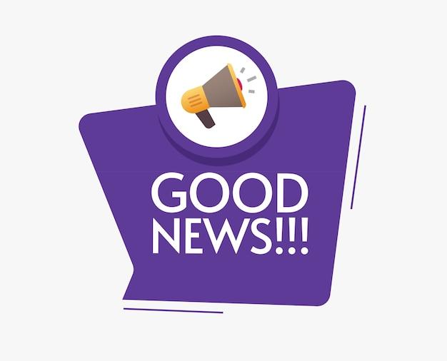 Boas notícias mensagem anúncio com megafone alto-falante bolha discurso aviso ilustração imagem plana dos desenhos animados Vetor Premium