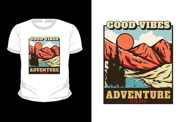 Boas vibrações aventura mão desenhada ilustração t-shirt design