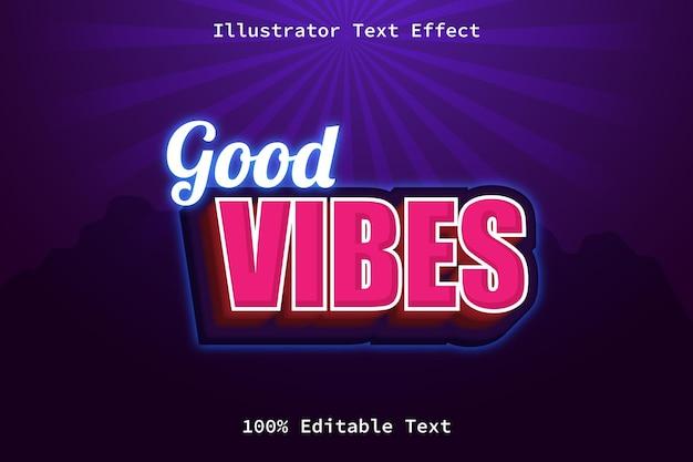 Boas vibrações com efeito de texto editável de estilo moderno