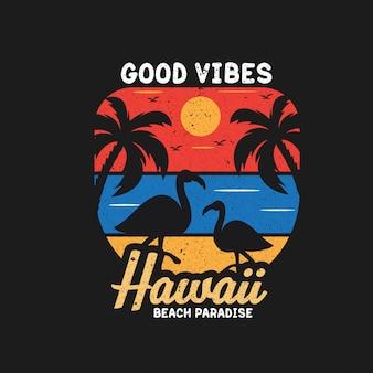 Boas vibrações na ilustração de paraíso de praia do havaí