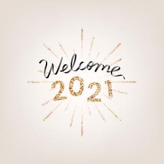 Boas-vindas douradas cintilantes de 2021, cartão de felicitações de ano novo