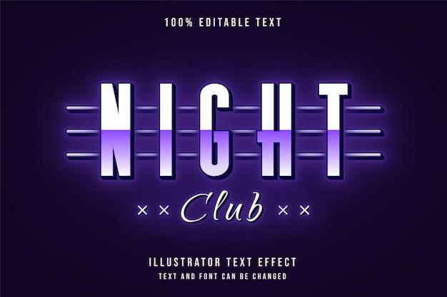 Boate, texto editável com efeito de texto em gradação roxa e estilo de texto em néon