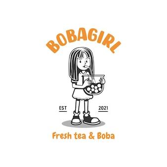 Boba girl mascote logo girl bebendo boba vector illustration