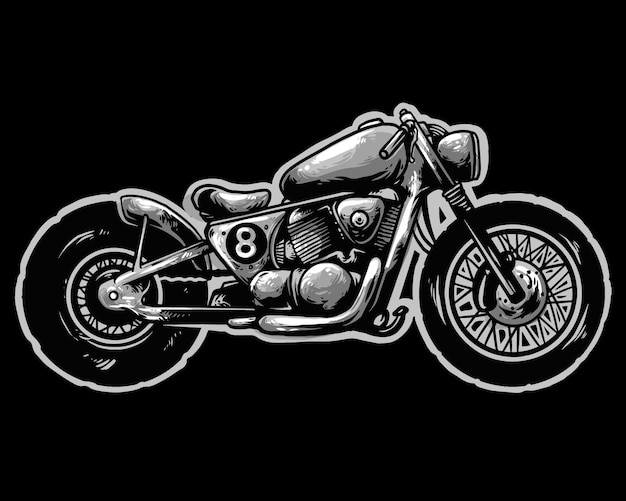 Bobber estilo moto design mascote logotipo
