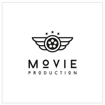 Bobina de filme e asas para o logotipo de produção de filmes
