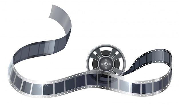 Bobina de filme realista ou bobina com tira de filme para entretenimento no cinema.