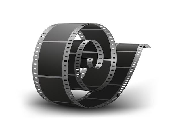 Bobina de tira de filme fotográfica de 35 mm em branco isolada no fundo branco. ilustração.
