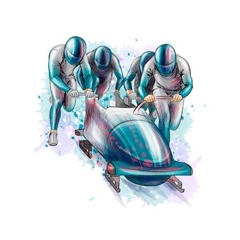 Bobsleigh para quatro atletas com respingos de aquarelas. equipamento desportivo para a corrida de bobsleigh. esporte de inverno. ilustração.