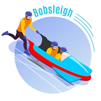 Bobsleigh round com equipe de atletas dispersando trenó trenó para downhill isométrico