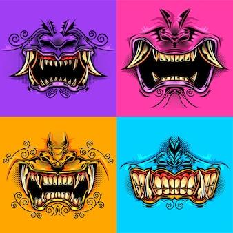 Boca de hannyas de terror ilustrado