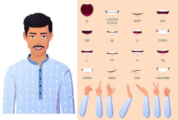 Boca de homem indiano, gestos com as mãos e conjunto de animação de sincronização labial.