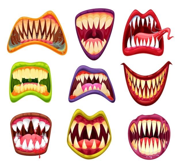 Boca de monstro com dentes, mandíbulas e línguas de desenho animado