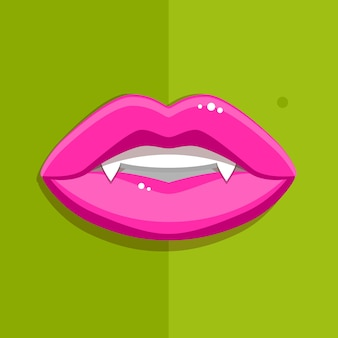 Boca de vampiro com lábios vermelhos abertos e dentes longos sobre fundo verde.