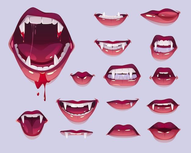 Boca de vampiro com presas conjunto, lábios vermelhos femininos