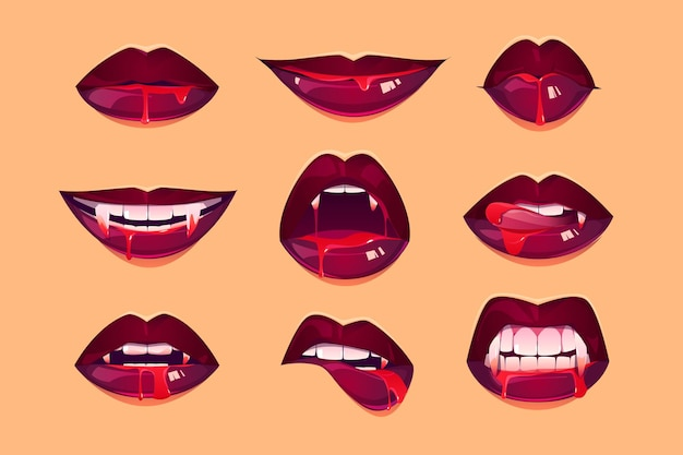 Boca de vampiro com presas definidas