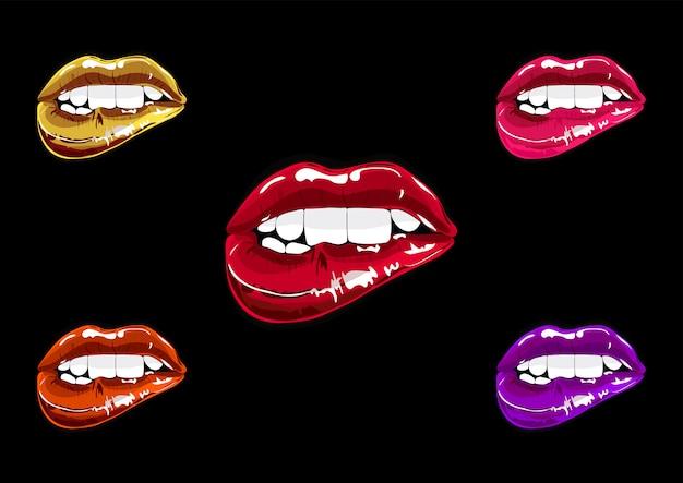 Boca definir pop art. coleção de remendo de lábios
