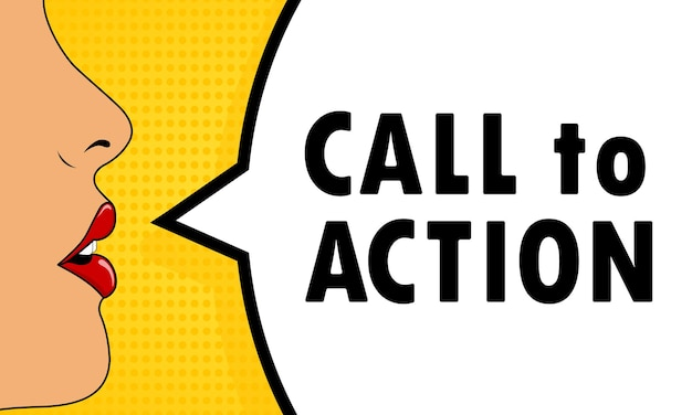Boca feminina com batom vermelho gritando bolha do discurso de apelo à ação. pode ser usado para negócios, marketing e publicidade. vetor eps 10. isolado no fundo branco.