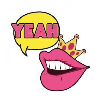 Boca feminina com ícone isolado de bolha do discurso