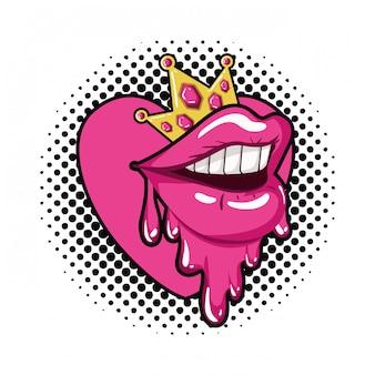 Boca feminina, gotejando, isolado, ícone