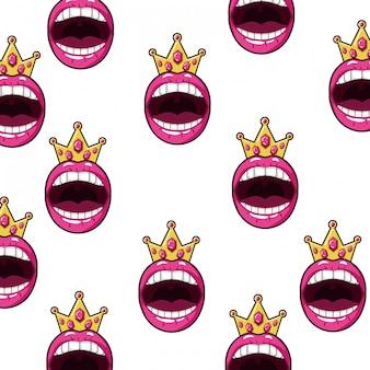 Boca feminina padrão de estilo pop art