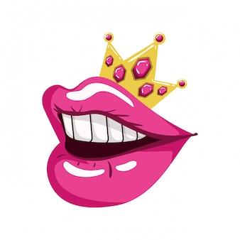 Boca feminina pop art estilo isolado ícone
