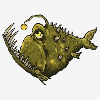Boca grande verde peixe assustador mão drwaing linha artística