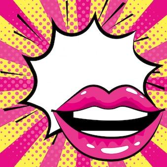 Boca mulher mulher pop art cartoon
