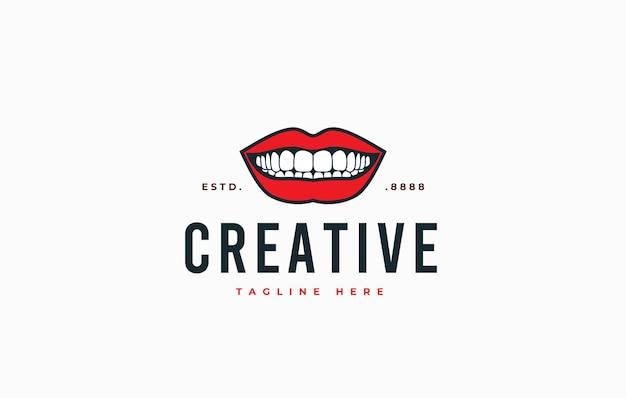 Boca sorridente mostrando o modelo de design de logotipo de dentes
