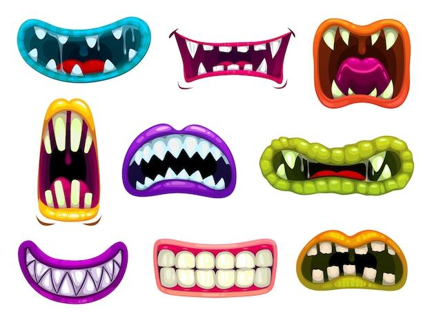 Bocas de monstro com dentes e línguas afiadas.