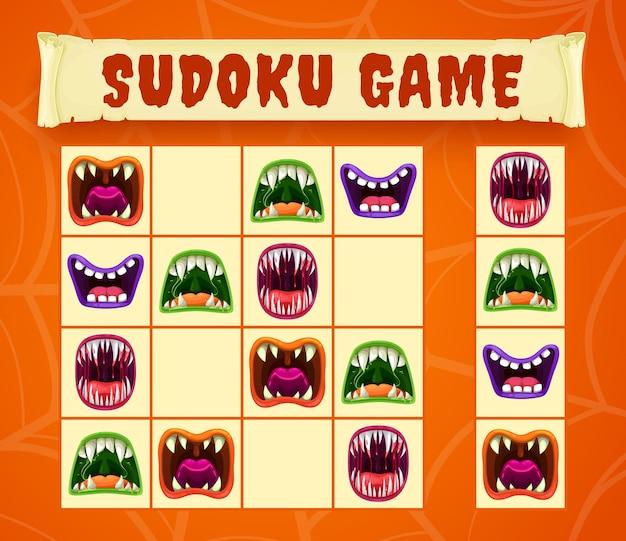 Bocas de monstro de halloween de sudoku ou jogo de quebra-cabeça
