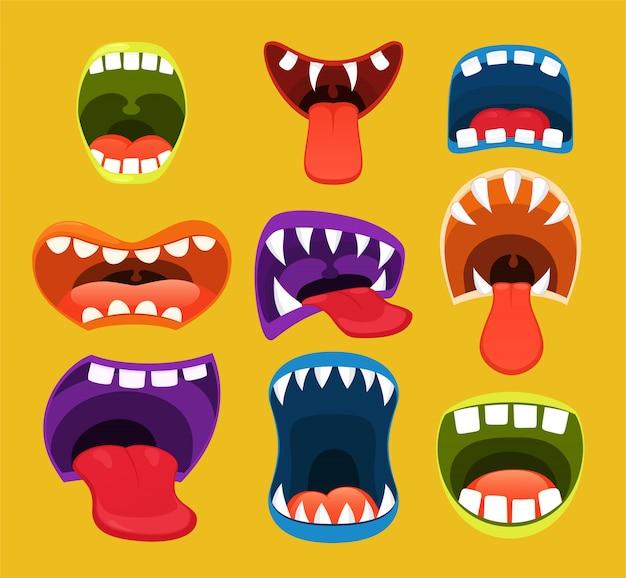 Bocas de monstro, expressão facial engraçada