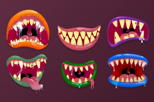 Bocas de monstros. expressão facial engraçada, boca aberta