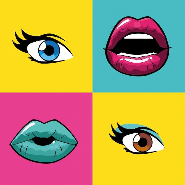 Bocas e olhos femininos de pop art dentro de vetores de quadros