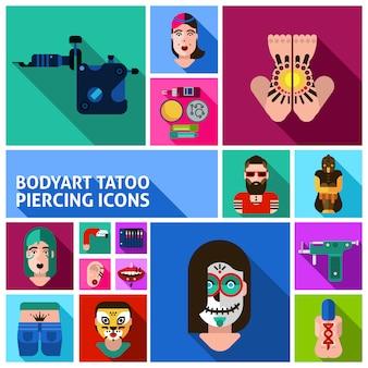 Body art tattoo piercing conjunto de imagens