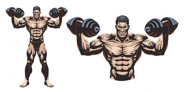 Bodybuilder masculino de corpo inteiro com haltere