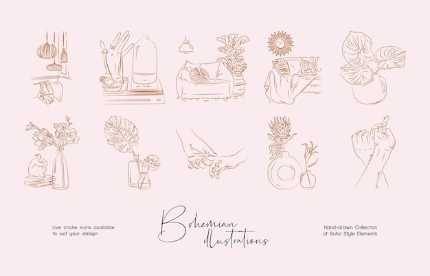 Bohemian line art ilustração desenhada à mão para definir o design da arte abstrata para imprimir o papel de parede da capa