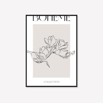Bohemian minimal illustration vector wall art design de cartaz de boho