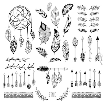Boho art. pena de flecha tribal, borda floral boêmia e conjunto de elementos de moda hippie