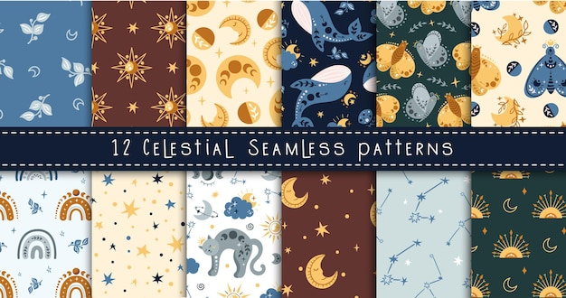 Boho celestial kids pattern seamless with space baleia