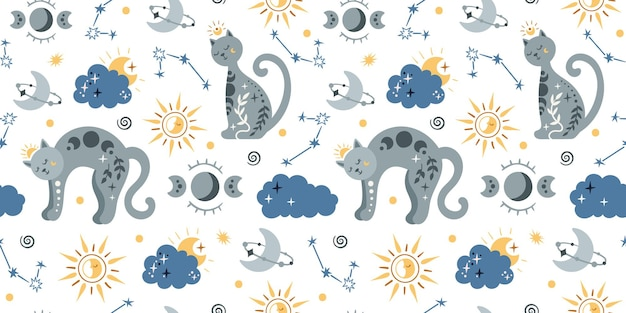 Boho celestial kids pattern seamless with space cat Vetor Premium