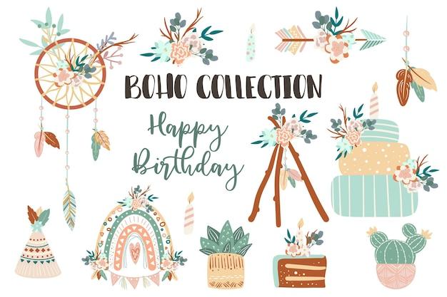 Boho chic coleção de ícones com penas flores composições florais bolos de aniversário seta