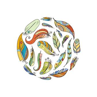 Boho de vetor doodle penas na ilustração de forma de círculo