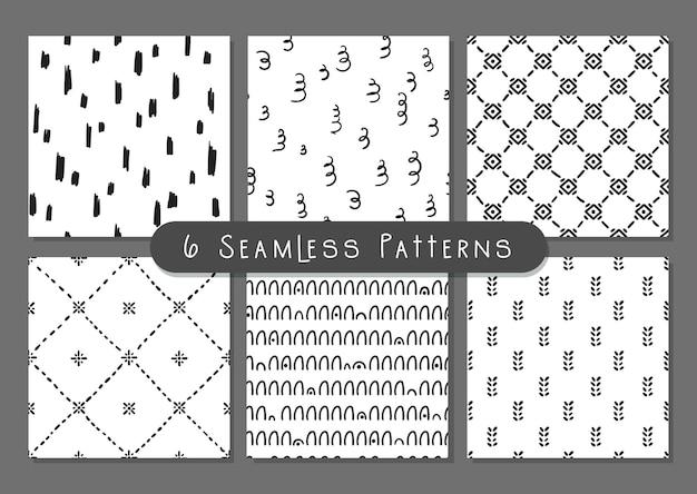 Boho doodle abstrac molda conjunto de padrões sem emenda