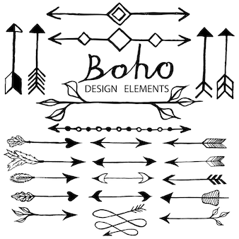 Boho doodle design elements