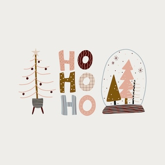 Boho hygge minimalismo moderno feliz natal e ano novo inverno adesivos para design
